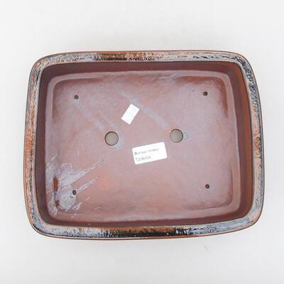 Ceramiczna miska bonsai 25 x 19,5 x 6,5 cm, kolor czarno-brązowy - 3