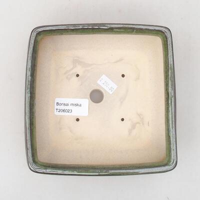 Ceramiczna miska bonsai 15 x 15 x 5,5 cm, kolor zielony - 3