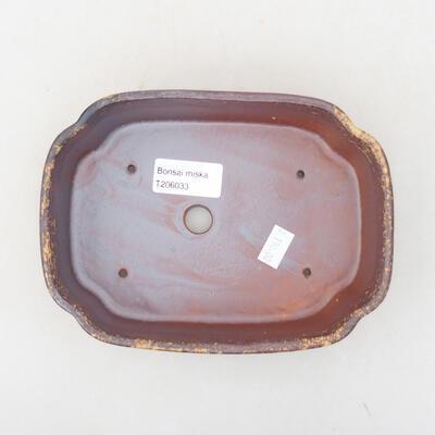 Ceramiczna miska bonsai 17,5 x 13,5 x 5 cm, kolor brązowo-żółty - 3