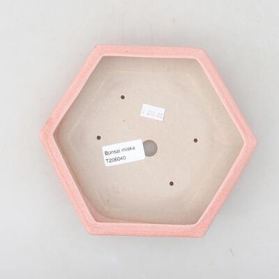 Ceramiczna miska bonsai 18 x 16 x 3,5 cm, kolor różowy - 3