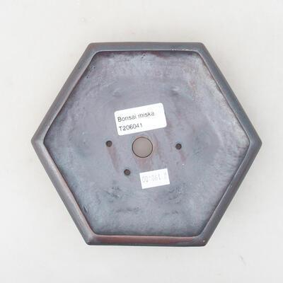 Ceramiczna miska bonsai 15,5 x 14 x 3,5 cm, kolor metalowy - 3
