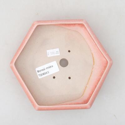 Ceramiczna miska bonsai 15,5 x 14 x 3,5 cm, kolor różowy - 3