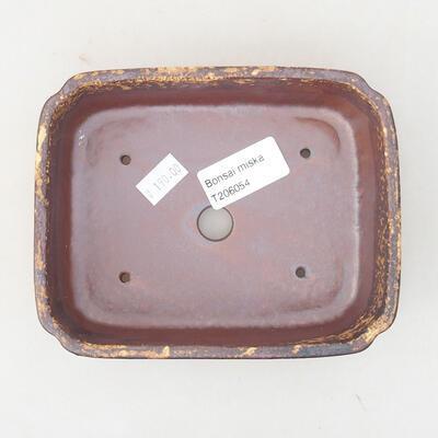 Ceramiczna miska bonsai 15 x 11,5 x 4 cm, kolor brązowo-żółty - 3