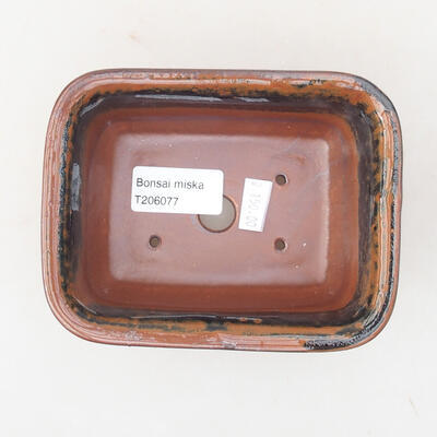 Ceramiczna miska bonsai 13 x 10 x 5 cm, kolor brązowo-czarny - 3
