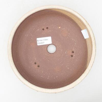 Ceramiczna miska bonsai 19,5 x 19,5 x 5,5 cm, kolor beżowy - 3