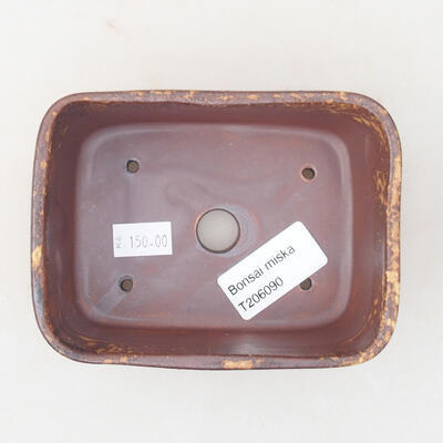 Ceramiczna miska bonsai 13 x 10 x 5,5 cm, kolor brązowo-żółty - 3