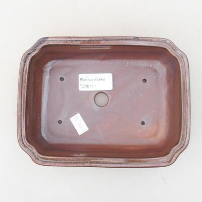 Ceramiczna miska bonsai 17 x 13 x 4,5 cm, kolor brązowy - 3