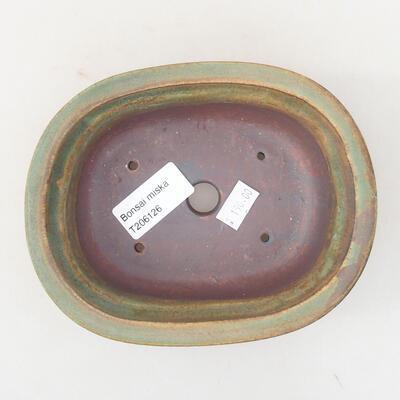 Ceramiczna miska bonsai 14 x 11 x 5 cm, kolor brązowo-zielony - 3