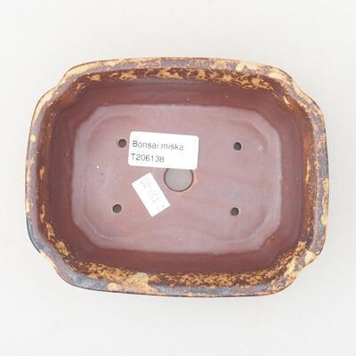 Ceramiczna miska bonsai 15 x 12 x 4 cm, kolor brązowo-żółty - 3