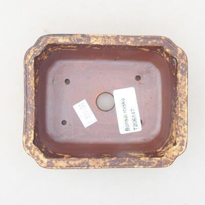 Ceramiczna miska bonsai 12 x 9,5 x 4 cm, kolor brązowo-żółty - 3