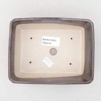 Ceramiczna miska bonsai 15 x 11,5 x 5,5 cm, kolor brązowy - 3