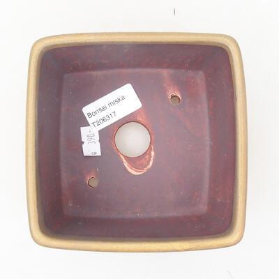 Ceramiczna miska bonsai 12 x 12 x 8 cm, kolor brązowy - 3