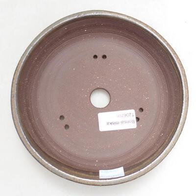 Ceramiczna miska bonsai 16,5 x 16,5 x 3,5 cm, kolor brązowy - 3