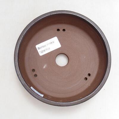 Ceramiczna miska bonsai 14 x 14 x 4 cm, kolor brązowy - 3
