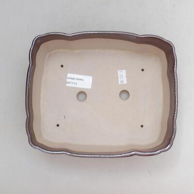 Ceramiczna miska bonsai 20,5 x 17 x 7 cm, kolor brązowy - 3