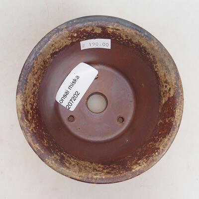 Ceramiczna miska bonsai 11 x 11 x 7 cm, kolor brązowo-zielony - 3