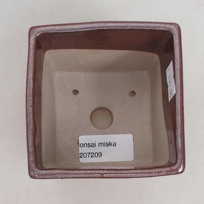 Ceramiczna miska bonsai 9 x 9 x 8,5 cm, kolor brązowy - 3