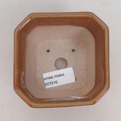 Ceramiczna miska bonsai 10 x 10 x 6 cm, kolor brązowo-rdzawy - 3