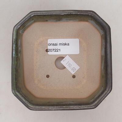 Ceramiczna miska bonsai 10 x 10 x 6 cm, kolor szaro-zielony - 3