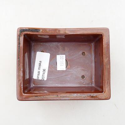 Ceramiczna miska bonsai 11 x 8,5 x 4,5 cm, kolor brązowy - 3