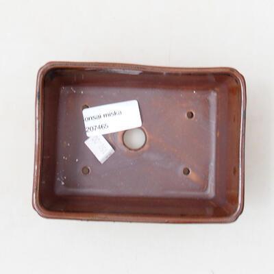 Ceramiczna miska bonsai 12,5 x 9 x 4,5 cm, kolor brązowo-czarny - 3