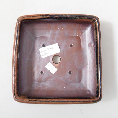 Ceramiczna miska bonsai 15 x 15 x 5,5 cm, kolor brązowo-czarny - 3