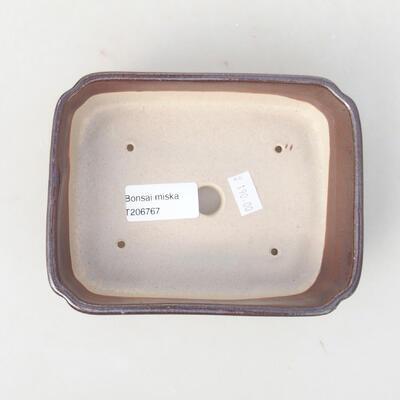 Ceramiczna miska bonsai 15 x 11,5 x 4 cm, kolor brązowy - 3