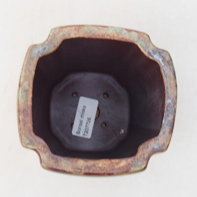 Ceramiczna miska bonsai 10 x 10 x 15,5 cm, kolor brązowo-zielony - 3