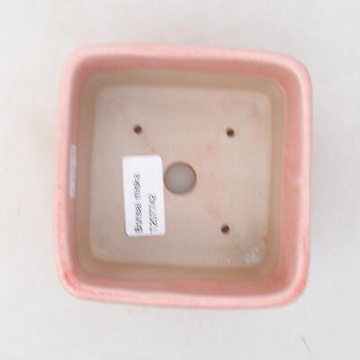 Ceramiczna miska bonsai 10 x 10 x 8 cm, kolor różowy - 3