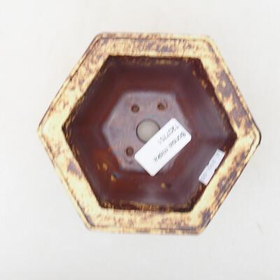 Ceramiczna miska bonsai 12 x 10,5 x 7,5 cm, kolor żółto-brązowy - 3