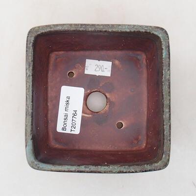 Ceramiczna miska bonsai 10 x 10 x 7 cm, kolor zielono-brązowy - 3