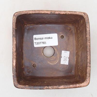 Ceramiczna miska bonsai 10 x 10 x 7 cm, kolor brązowo-różowy - 3