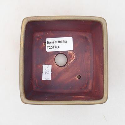Ceramiczna miska bonsai 10 x 10 x 7 cm, kolor brązowy - 3