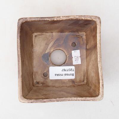 Ceramiczna miska bonsai 10 x 10 x 7,5 cm, kolor brązowy - 3