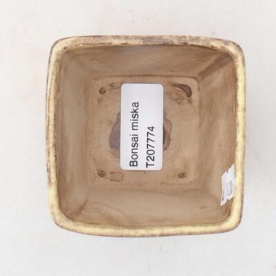 Ceramiczna miska bonsai 7 x 7 x 7 cm, kolor brązowo-żółty - 3