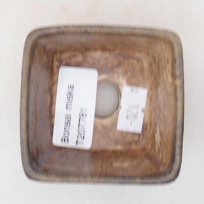 Ceramiczna miska bonsai 6,5 x 6,5 x 5 cm, kolor brązowy - 3