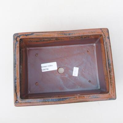 Ceramiczna miska bonsai 20 x 14,5 x 7 cm, kolor czarno-brązowy - 3