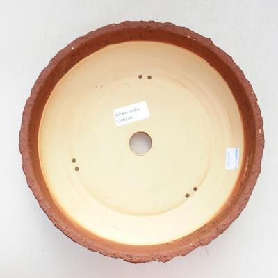 Ceramiczna miska bonsai 23,5 x 23,5 x 7 cm, kolor szaro-pomarańczowy - 3