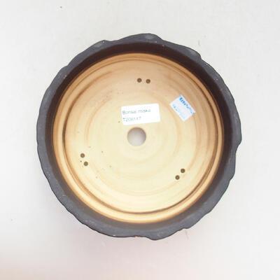 Ceramiczna miska bonsai 17,5 x 17,5 x 7 cm, kolor szaro-pomarańczowy - 3