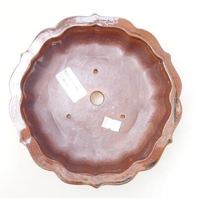 Ceramiczna miska bonsai 16 x 15,5 x 5 cm, kolor brązowo-czarny - 3