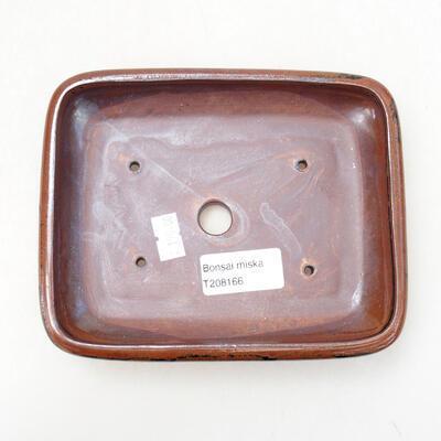 Ceramiczna miska bonsai 15 x 11,5 x 3,5 cm, kolor brązowo-czarny - 3