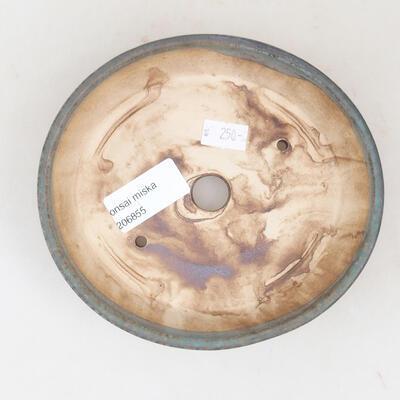 Ceramiczna miska bonsai 14 x 13 x 3,5 cm, kolor brązowo-zielony - 3