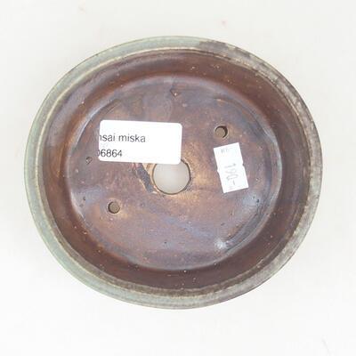 Ceramiczna miska bonsai 12 x 11 x 3 cm, kolor brązowo-zielony - 3