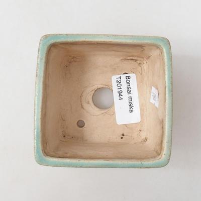 Ceramiczna miska bonsai 8 x 8 x 6 cm, kolor zielony - 3