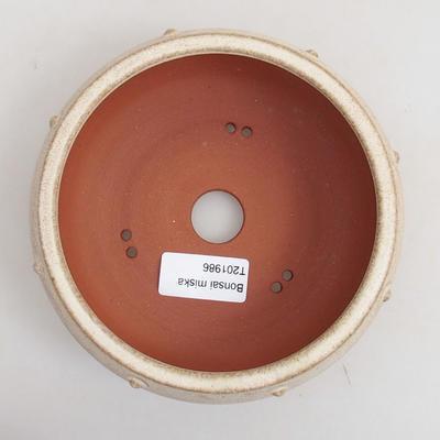Ceramiczna miska bonsai 14 x 14 x 6 cm, kolor beżowy - 3