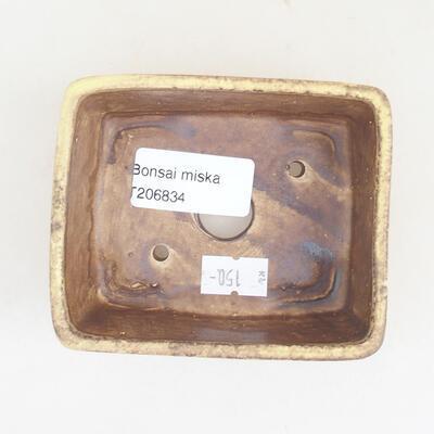 Ceramiczna miska bonsai 9,5 x 8 x 3,5 cm, kolor żółty - 3