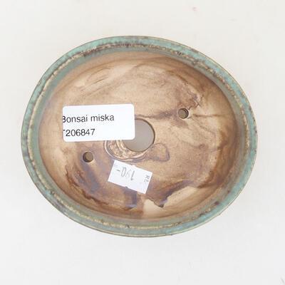 Ceramiczna miska bonsai 10,5 x 9 x 4,5 cm, kolor brązowo-zielony - 3